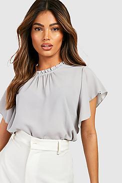 Lily Bluse aus Webmaterial mit Rüschenärmeln und -kragen - Boohoo.com