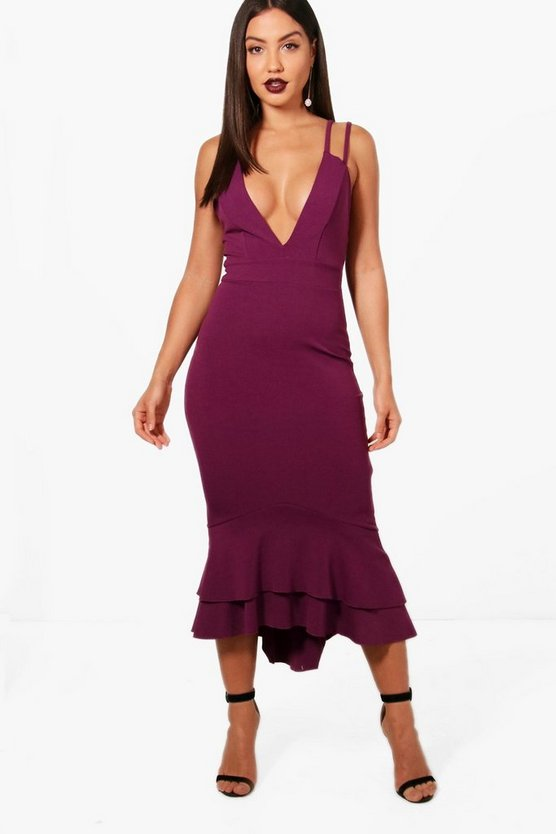 Steph Strappy Peplum Hem Midi Dress