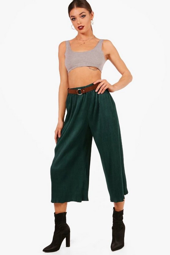Nadina Pleated Suedette Belted Culottes