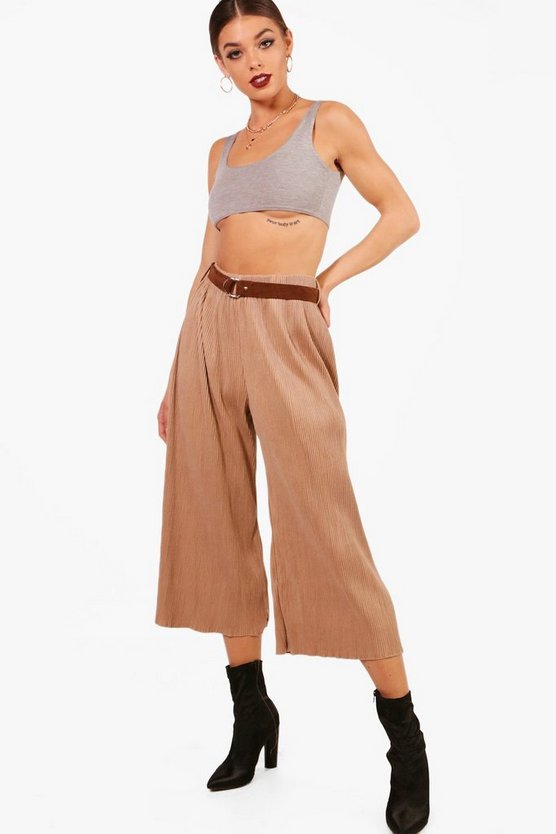 Pleated Suedette Belted Culottes