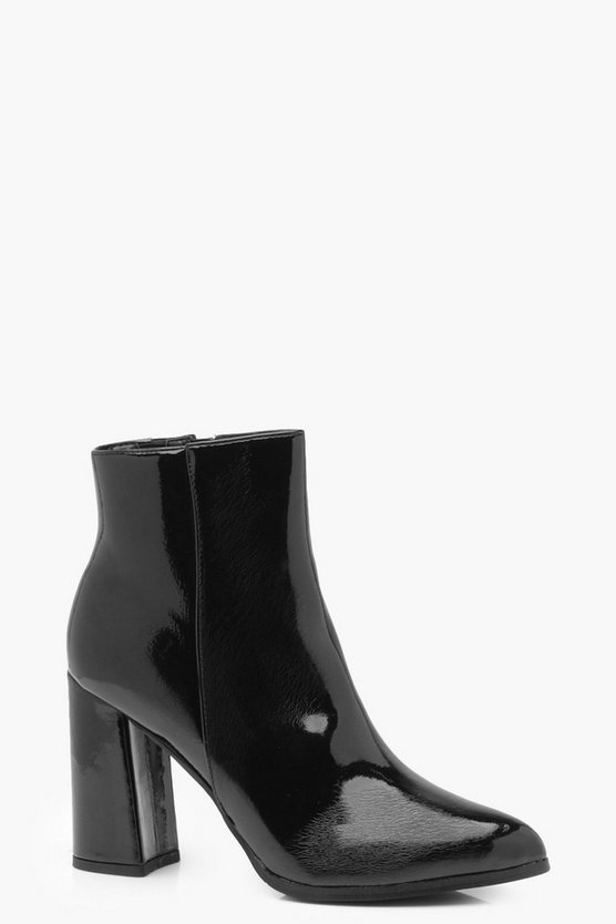 Kat Patent Flared Heel Shoe Boot