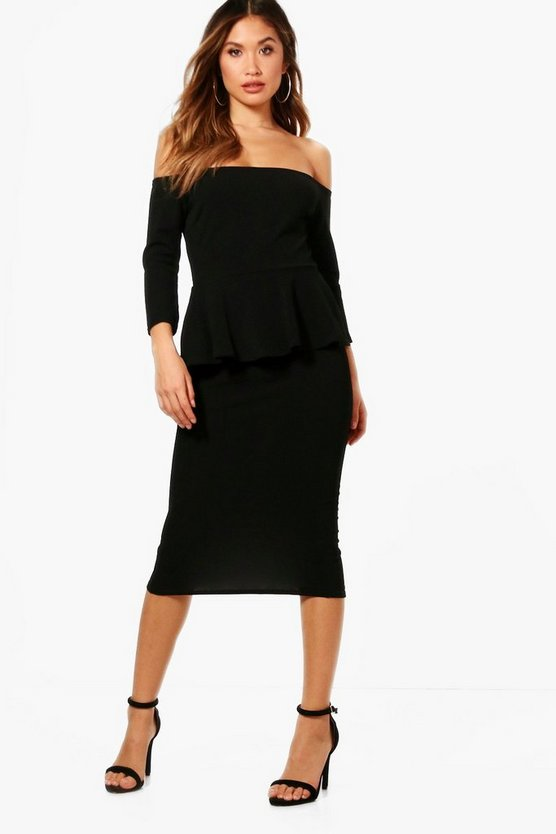 Kara Formal Structured Off the Shoulder Midi