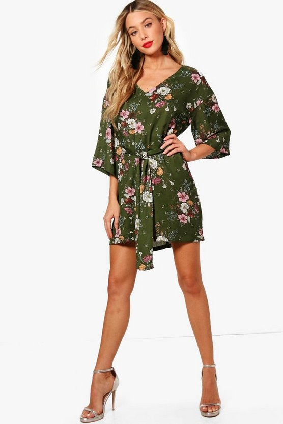 Paige Tie Neck Kimono Sleeve Shift Dress