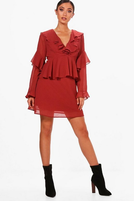Ruffle Sleeve Woven Tea Dress