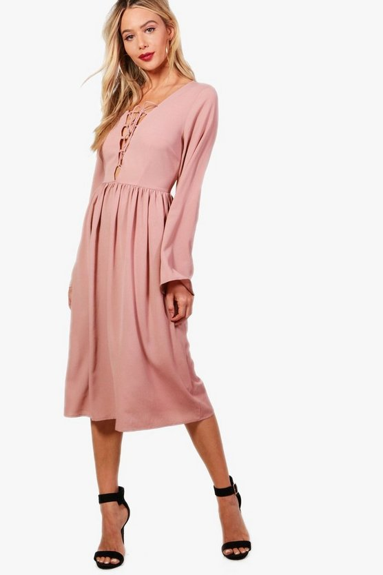 Zoe Lace Up Front Fluted Sleeve Midi Dress