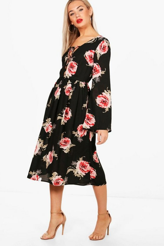 Lace Up Front Fluted Sleeve Midi Dress