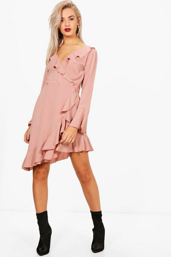 Ruffle Detail Woven Tea Dress