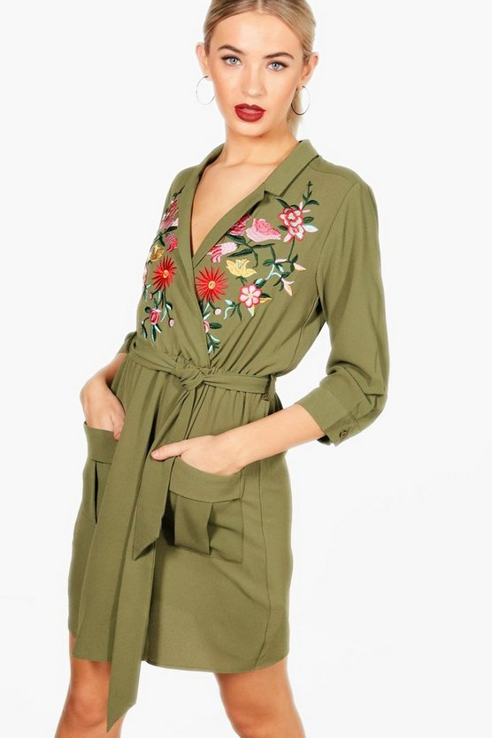 Mia Embroidered Front Tie Waist Shirt Dress