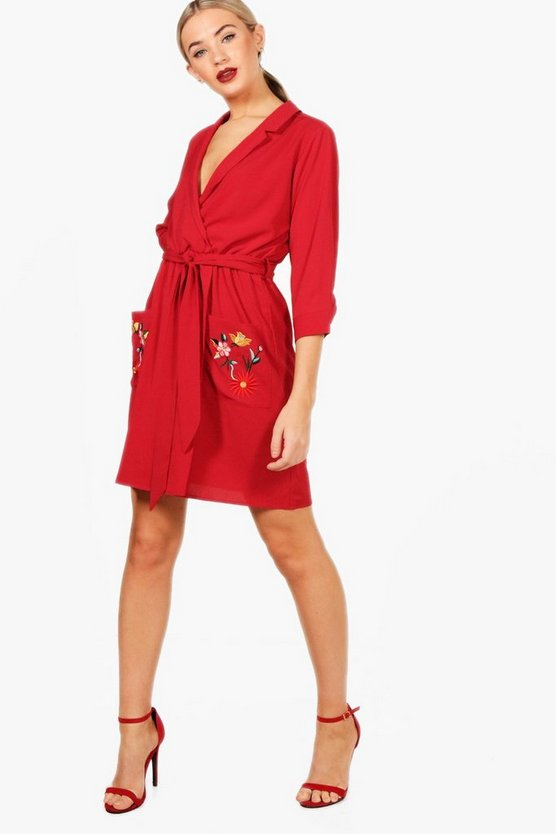 Bree Embroidered Tie Waist Shirt Dress