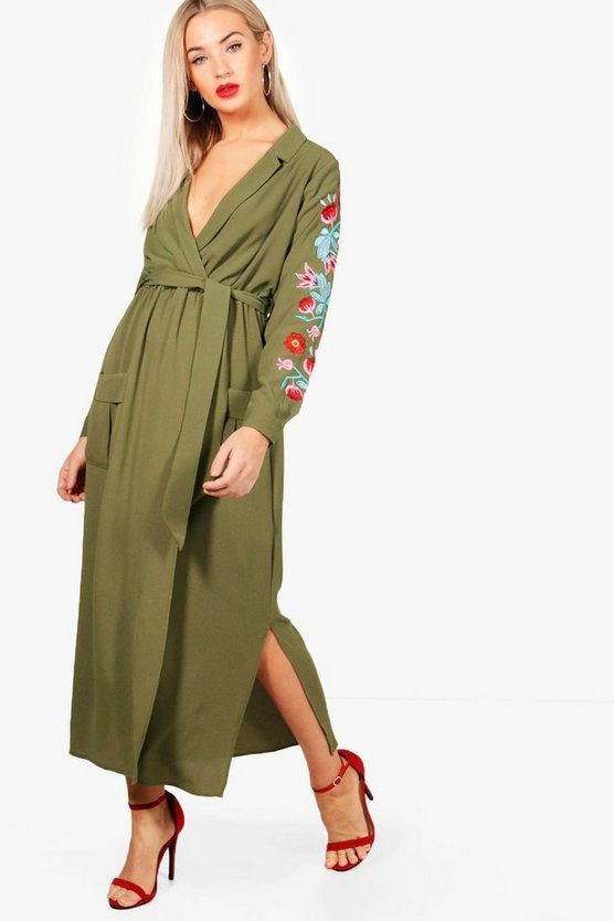 Ali Embroidered Sleeve Tie Waist Maxi Dress