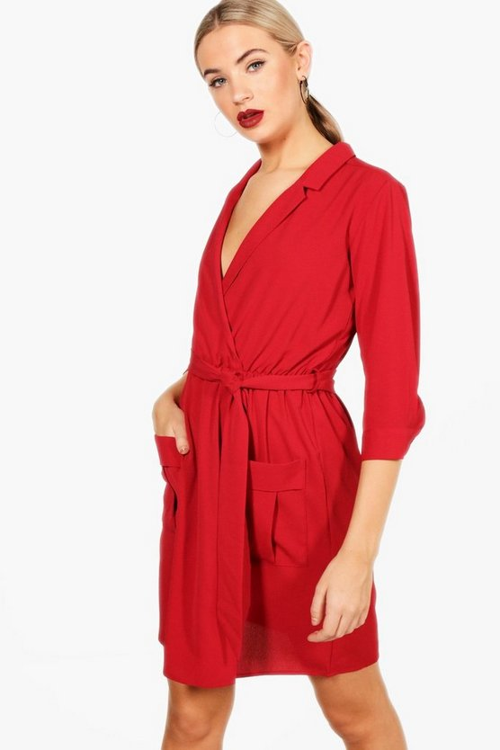 Tie Waist Woven Mini Shirt Dress
