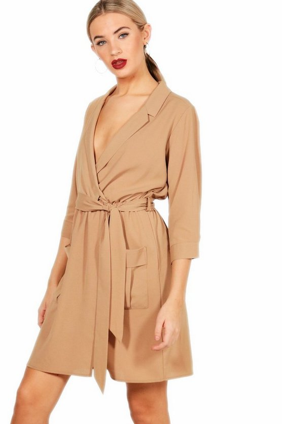 Poppy Tie Waist Woven Mini Shirt Dress