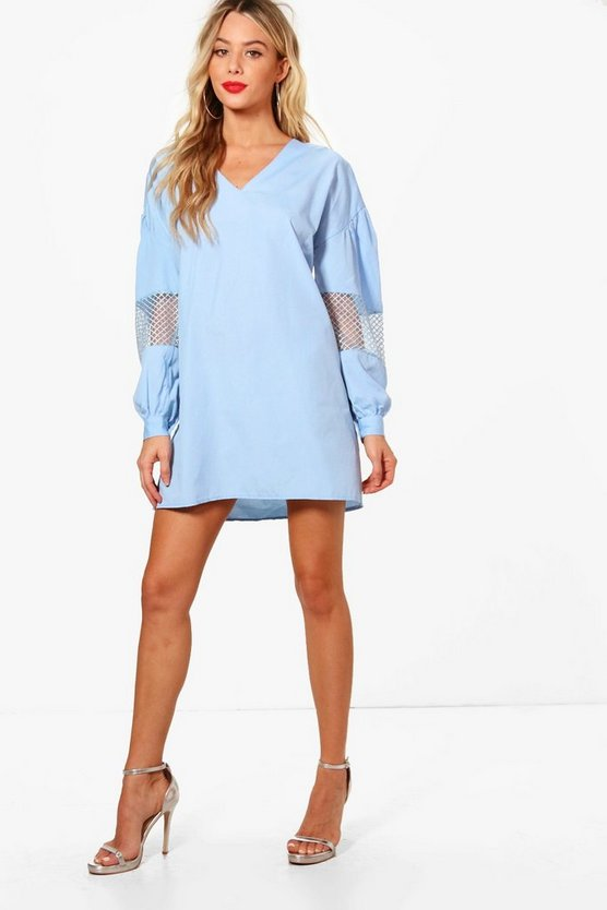 Balloon Sleeve Detail Shift Dress