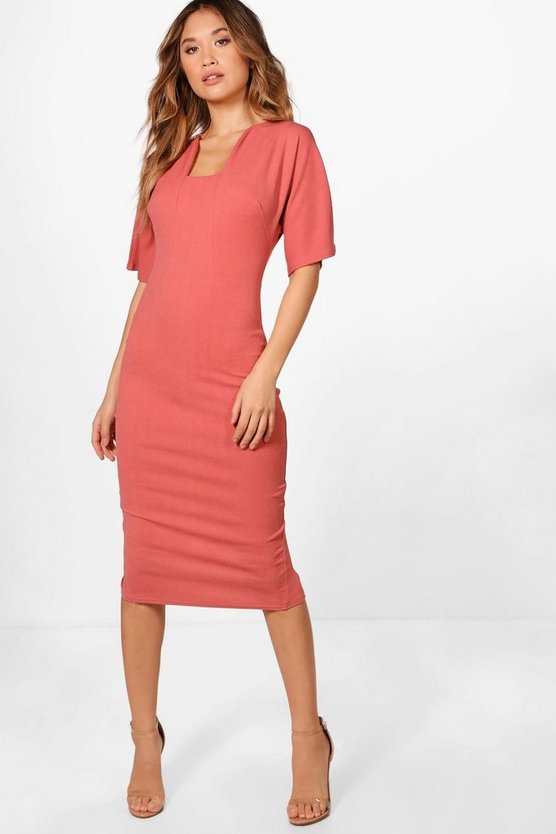 Formal Curved Neck Fitted Midi Dress