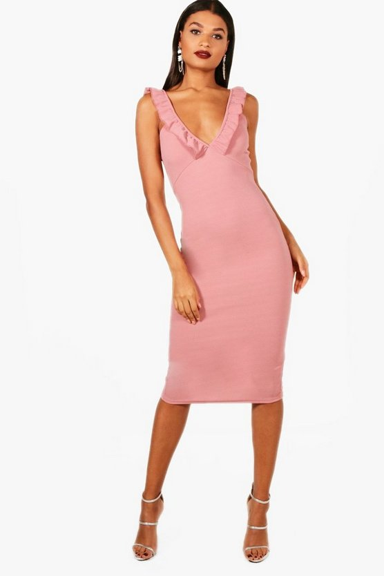 Chelsea Frill Strappy Plunge Midi Dress