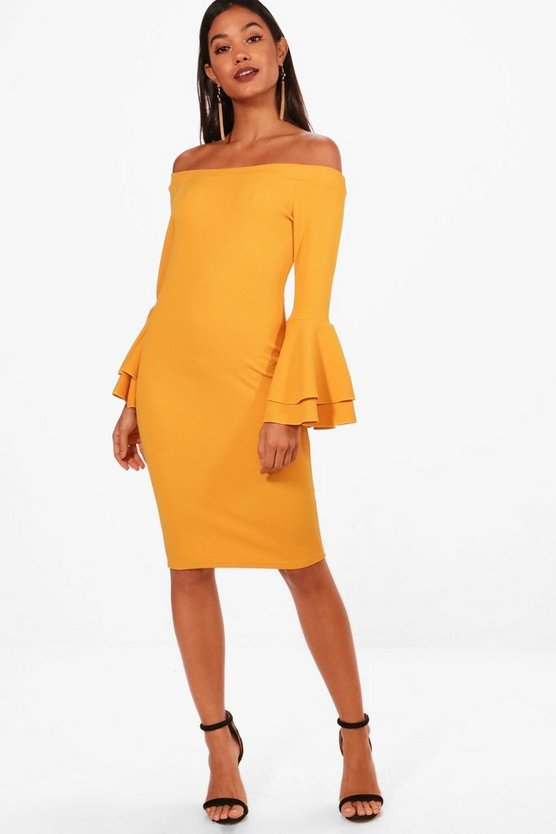Jenny Off the Shoulder Double Frill Midi Dress