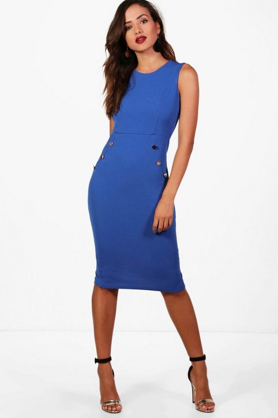Theresa Formal Button Detail Fitted Midi Dress
