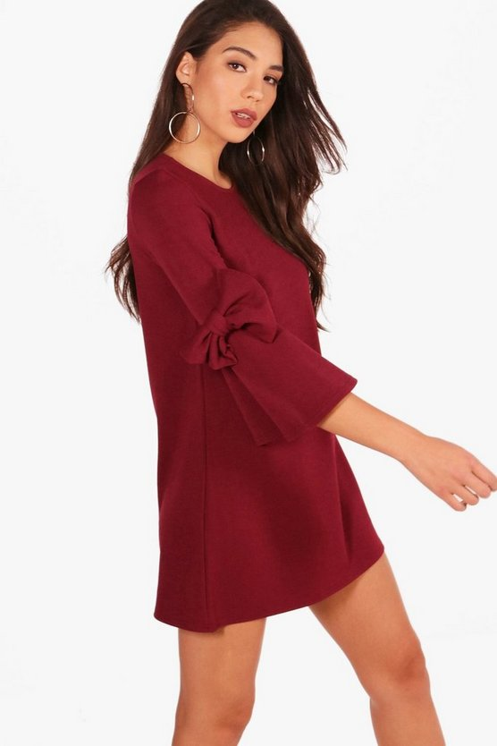 Deanna Bow Sleeve Detail Formal Shift Dress