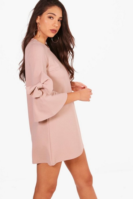Bow Sleeve Detail Formal Shift Dress