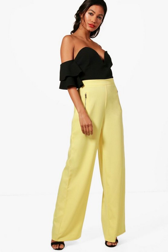 Lula Woven Exposed Zip Wide Leg Trousers