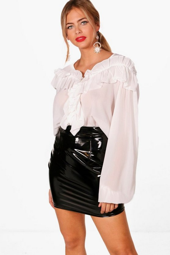 Sheer Ruffle Balloon Sleeve Top