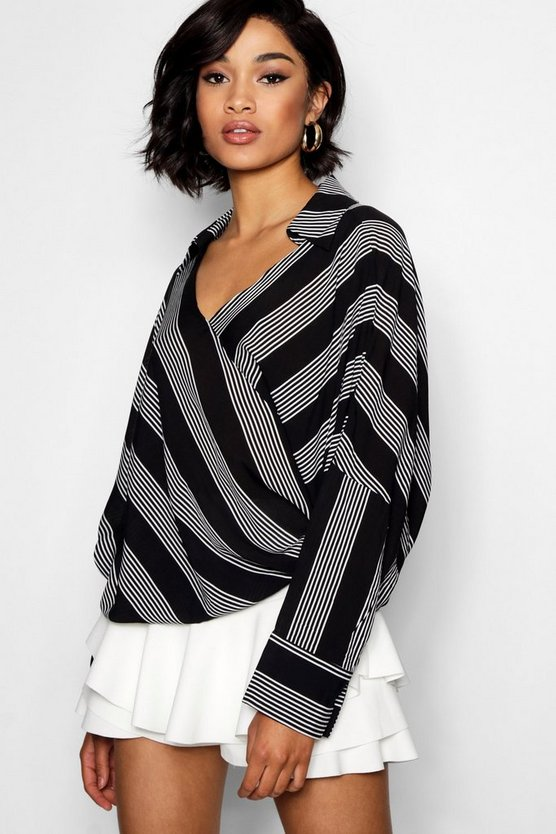 Lily Stripe Wrap Front Top