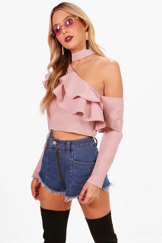 Evelyn Tie Neck Ruffle Asymmetric Top