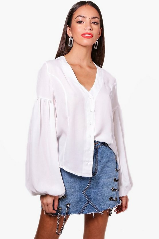 Amy Balloon Sleeve Woven Shirt