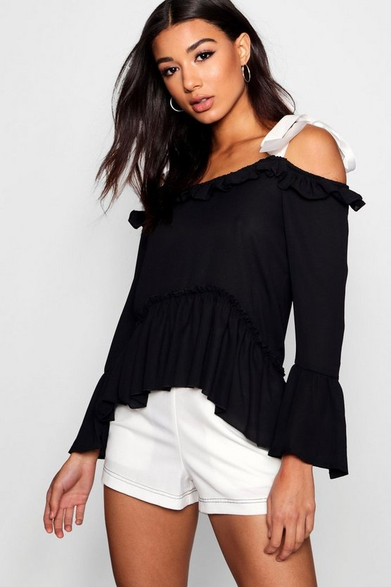 Cold Shoulder Ruffle Tie Blouse