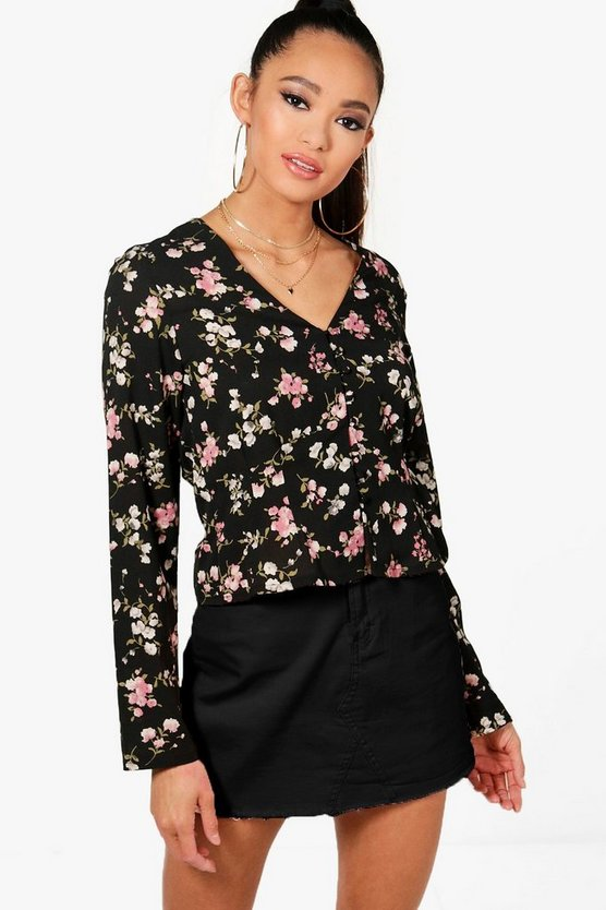 Printed Button Detail Blouse