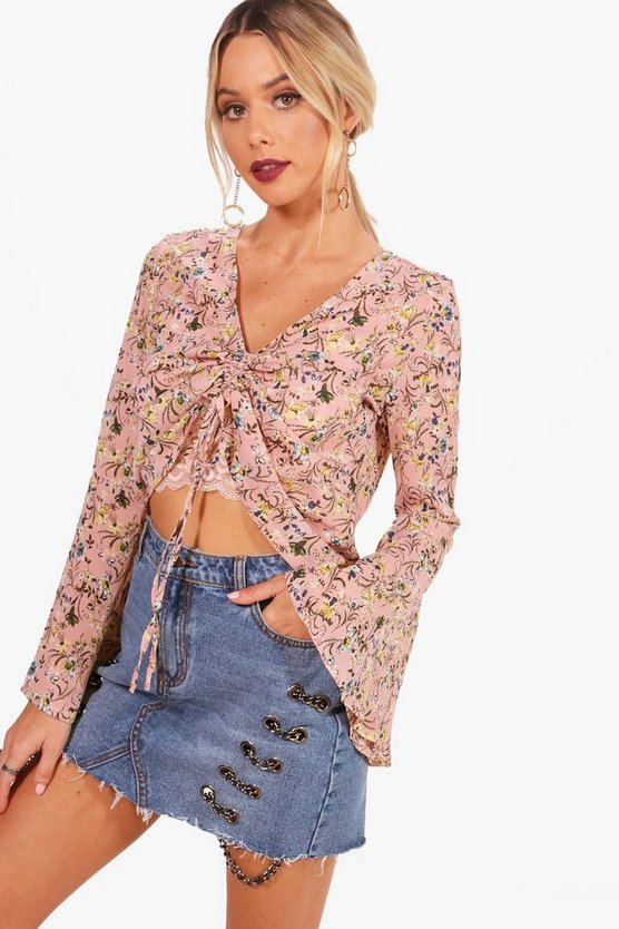 Floral Woven Ruched Front Blouse
