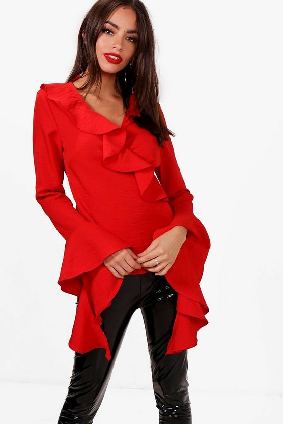 Paige Ruffle Wrap Tie Side Blouse