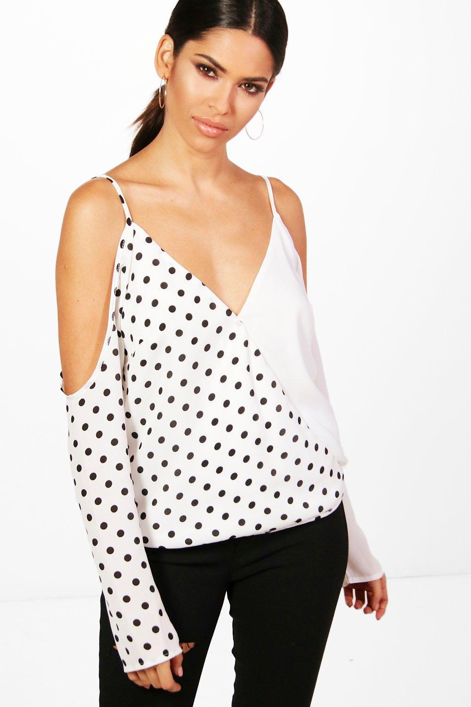 Womens Mix Print Cold Shoulder Top - white - 38, White - Boohoo.com