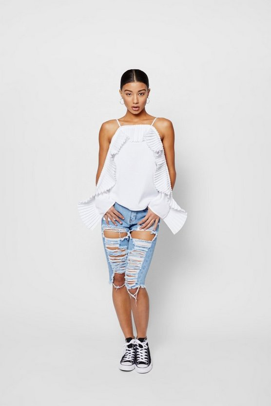 Zendaya Edit Pleated Ruffle Cold Shoulder Top