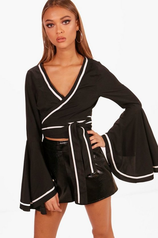 Eleanor Extreme Flare Sleeve Tie Waist Crop