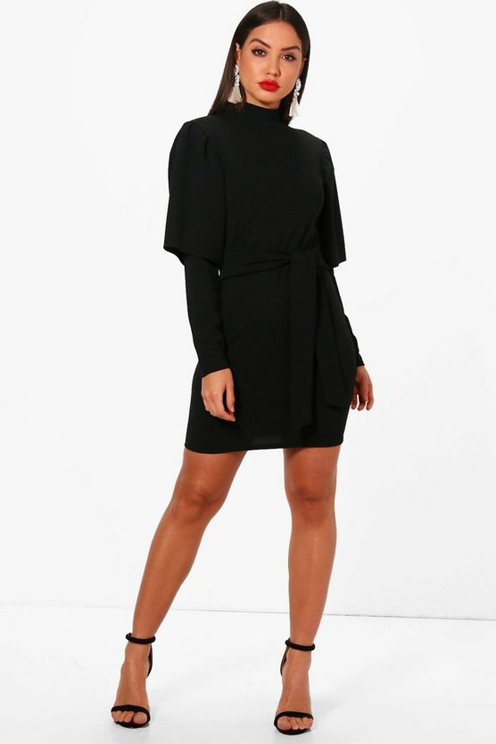Joy Flared Sleeve Tie Waist Bodycon Dress