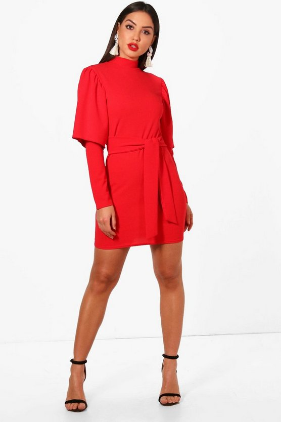 Flared Sleeve Tie Waist Bodycon Dress