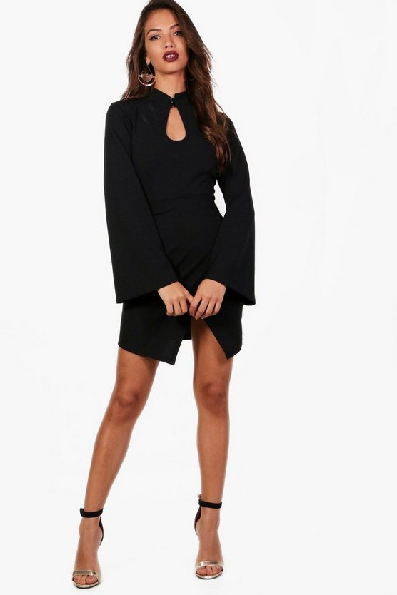 Allie Wrap Front Flute Sleeve Mini Dress