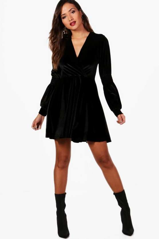 Lo Ruched Sleeve Wrap Velvet Skater Dress