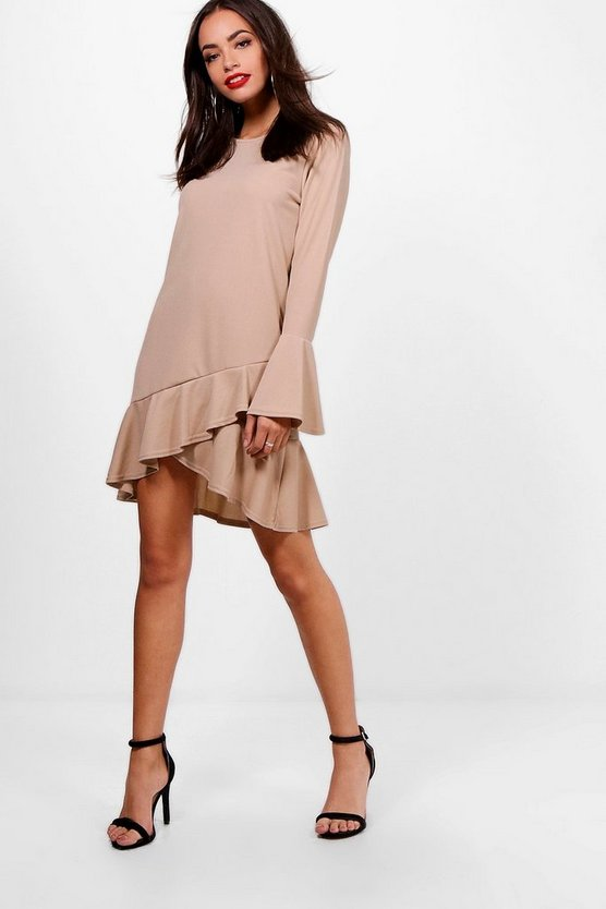 Ann Flute Sleeve Asymmetric Frill Shift Dress
