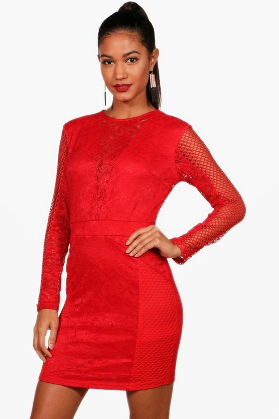 Lace Panelled Long Sleeve Bodycon Dress