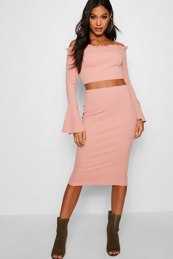 Sara Off Shoulder Frill Crop and Midi Set