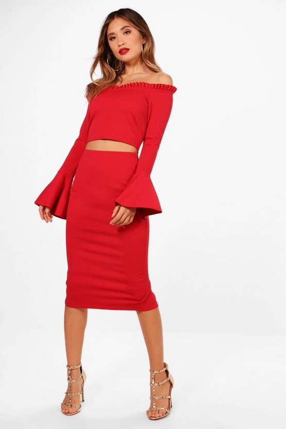 Off Shoulder Frill Crop and Midi Set