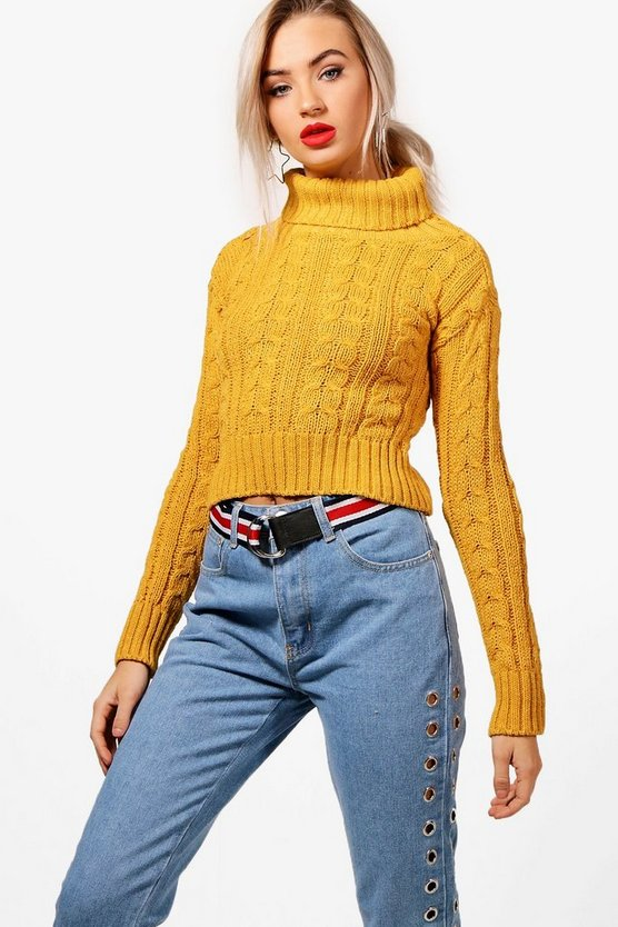 Aimee Cropped Roll Neck Cable Knit Jumper