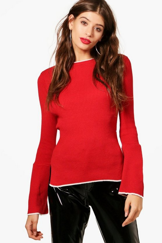 Flare Sleeve Rib Knit Jumper