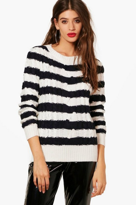 Katie Striped Cable Knit Jumper