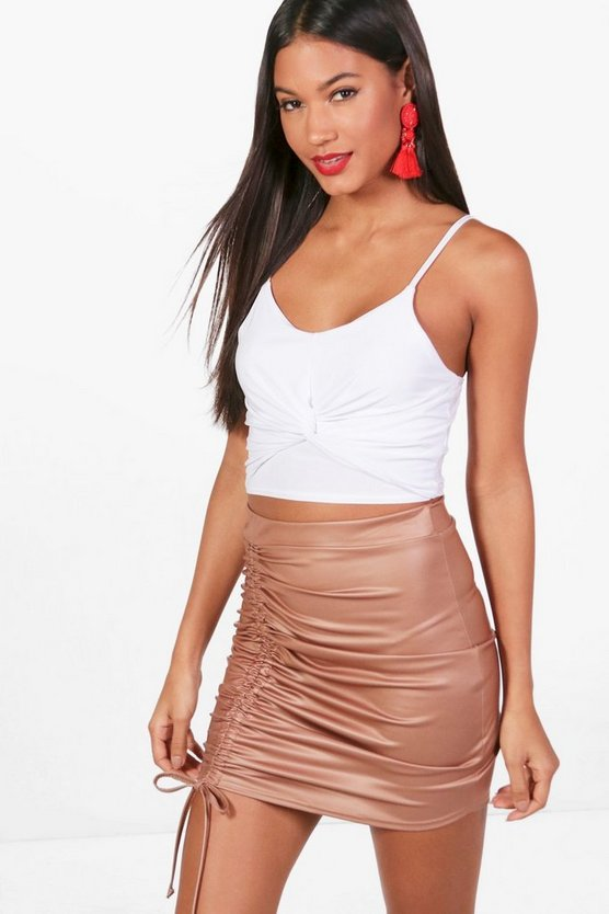 Elise Drawcord Leather Look Mini Skirt