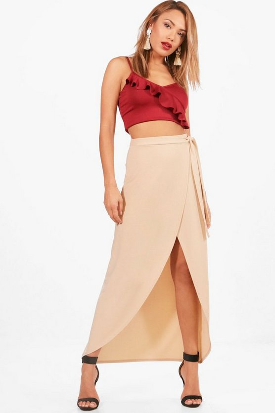 India Tie Waist Wrap Front Dipped Midi Skirt