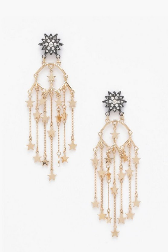 Kat Statement Star Stud Chandelier Earrings