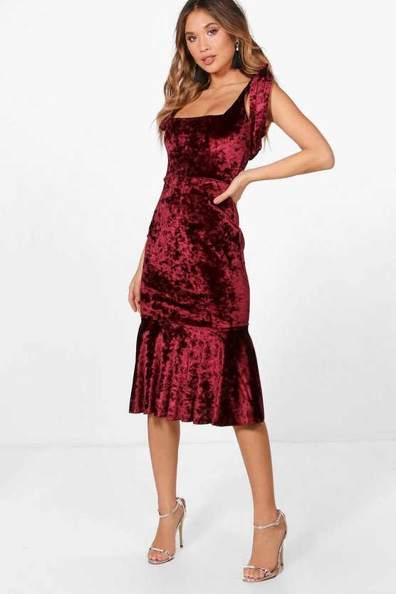 Sasha Velvet Tie Straps Fishtail Midi Dress